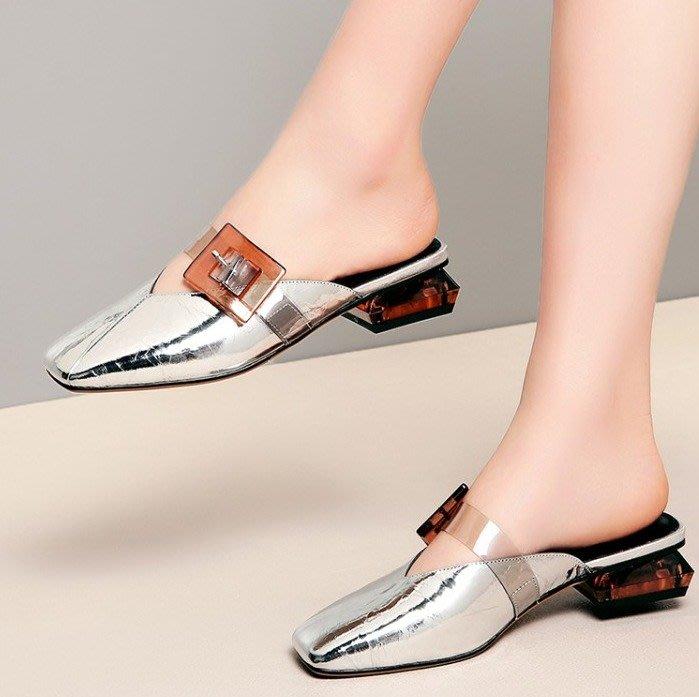 Fashion*包頭涼拖鞋 外穿百搭穆勒鞋 真皮皮帶扣懶人鞋/2色 銀色*槍色 34-42碼