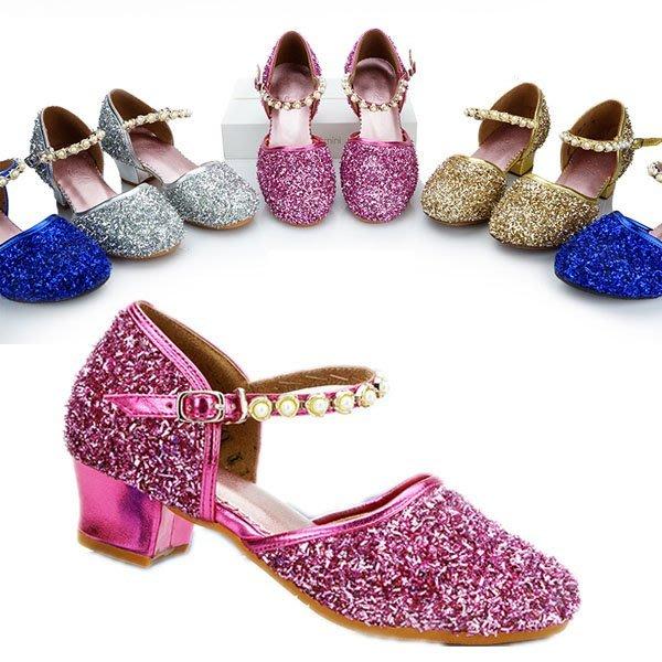 5Cgo【鴿樓】會員有優惠 41361382616 拉丁舞鞋女兒童夏舞蹈鞋低跟交誼舞廣場跳舞鞋女孩夏季涼鞋
