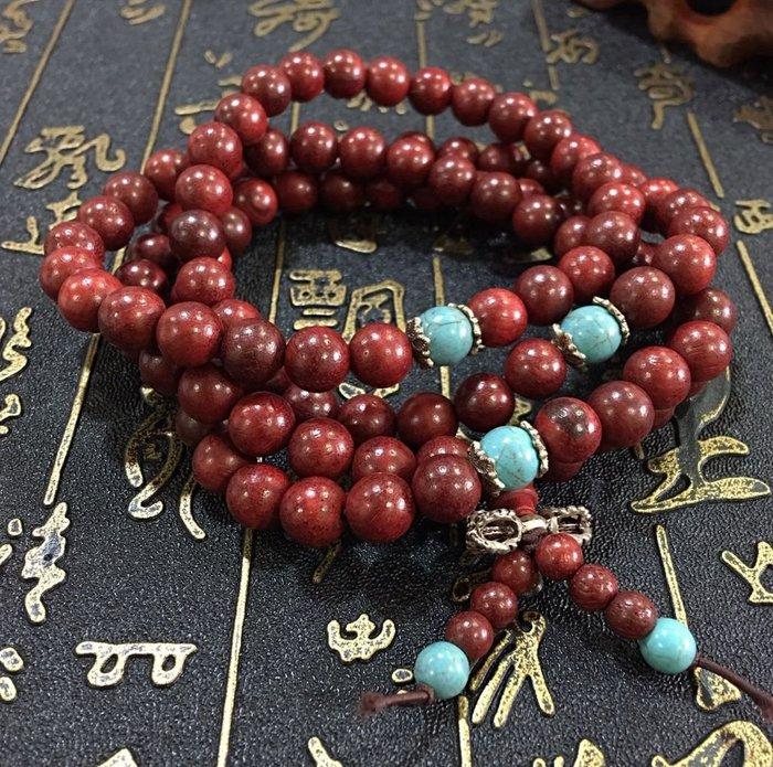 珍奇翡翠珠寶-天然高品質紅酸枝木108顆項鍊手鍊。天然無上漆,木頭味道濃郁,搭配綠松石,925銀金剛杵
