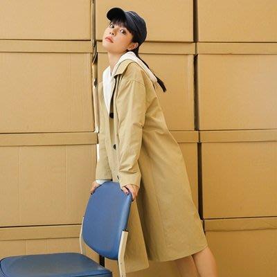 風衣 外套 長款大衣-純色簡約翻領百搭女外套2色73ue16[獨家進口][米蘭精品]