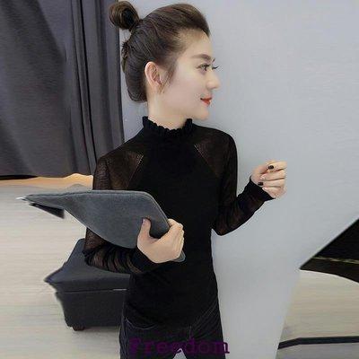 Freedom.歐洲站2019春裝新款歐貨潮正韓時尚修身氣質黑色蕾絲半高領襯衫女