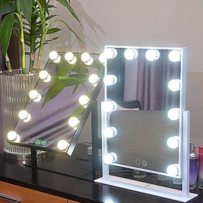 化妝鏡 大號台式帶燈美容鏡 方形LED燈泡鏡子 便攜影樓美妝梳 USB充電 帶時鐘