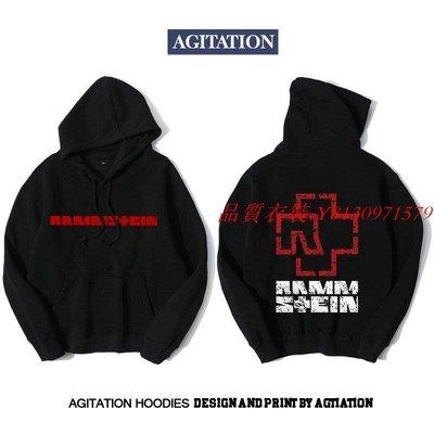 [品質衣裝] Agitation男士秋冬套頭加絨連帽衛衣男款搖滾音樂德國戰車樂隊