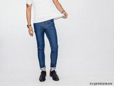 P.J-WHITE男裝 彈力立體剪裁藍色薄牛仔褲.slp.ysl.rickowens.GD.balmain