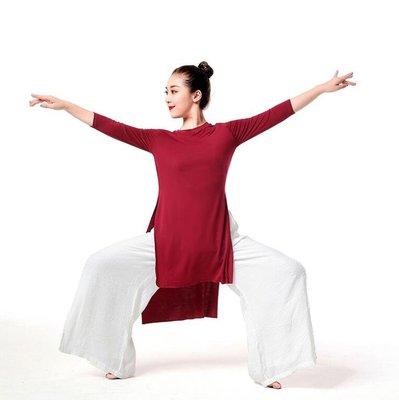 現代舞練功服 爵士古典拉丁中長款前短後長開衩舞蹈演出服瑜伽服 M-3XL碼—莎芭