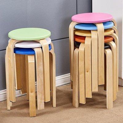 哆啦本鋪 椅子家用椅子簡易實木凳子椅子家用板凳創意餐桌凳高凳加厚大人圓凳子D655