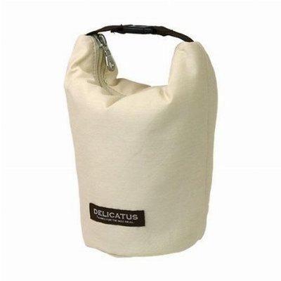 日本 Delicatus 米白色帆布 保溫 保冷 飯盒 圓桶型 手提袋 ($160 包順豐)