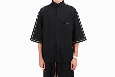 宏美飾品館~-LAUNDERED-簡約高級款雙曲牙CHAIN-STITCH抗皺厚料五分袖襯衫