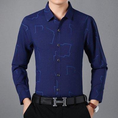 男士長袖休閒襯衫爸爸裝40-50歲中年人免燙襯衫男男印花襯衫 潮流男生襯衣t6536