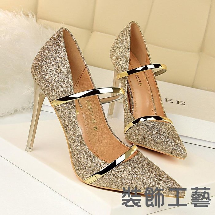 9511-19高跟鞋淺口尖頭亮片布性感夜店顯瘦高跟一字帶單鞋
