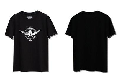 日本neighborhood 新款19SS聯名限定NBHD潮牌HIPPOD ROME翅膀骷髏骨頭黑白色短袖T恤