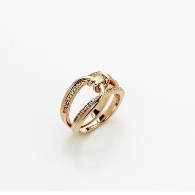 Lissom韓國代購~e 家懶人正韓個性時尚戒指食指戒輕奢氣質指環玫瑰金色無名指戒
