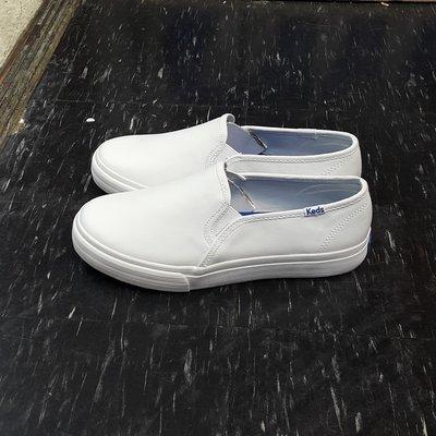 Keds 懶人鞋 白色 全白 皮革 基本款 小白鞋 修長 2公分 鬆緊帶 DOUBLE DECKER 免運