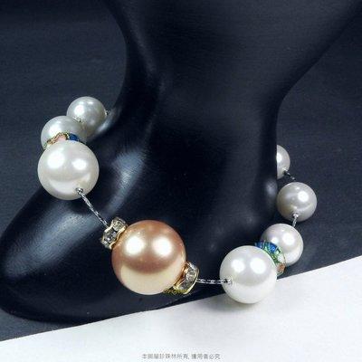 珍珠林~特別設計限量款~14MM硨磲貝珍珠搭配手工景泰藍手鏈 #947