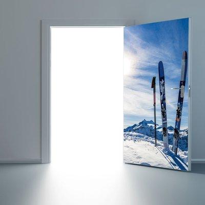 暖暖本舖 雪山滑學版 冰學天地門貼 創意裝飾貼 房間門貼 書櫃壁貼紙 大門造景貼 防水門貼 裝潢貼紙 玄關貼 可訂製尺寸