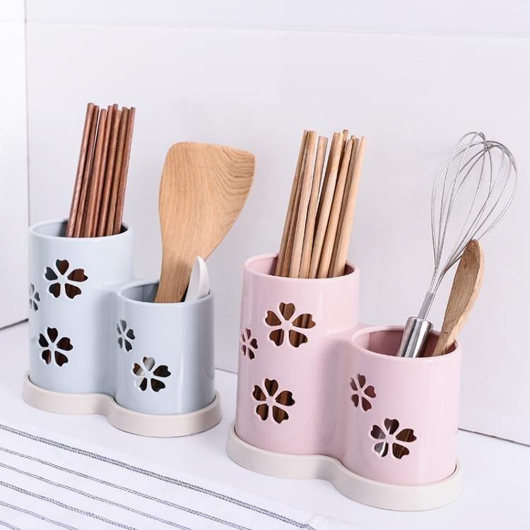 筷子籠瀝水筷子架塑料勺子置物架筷籠廚房餐具收納架筷子盒筷子筒3色可選【潮男阿舍】