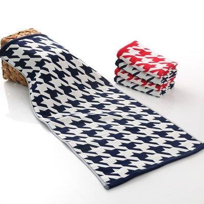 BabyFace【三層紗】千鳥格紋紗布料擦澡巾成人大乾髮巾 美容巾速乾耐用 (34*76CM)