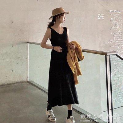 黑色打底吊帶裙女寬鬆內搭過膝長裙學生薄款針織洋裝