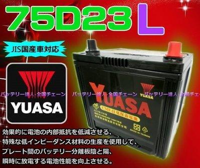 《新市電池達人》湯淺電池 YUASA 75D23L 適用規格 75D23L 80D23L 90D23L 速霸陸森林人