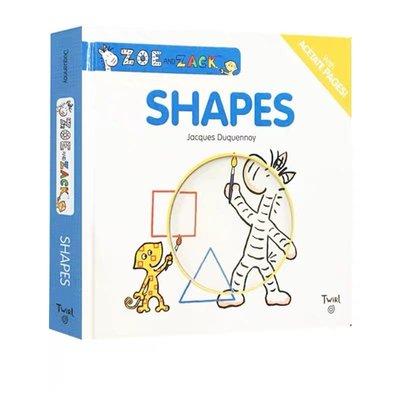 Zoe and Zack Shapes 紙板書 藝術大師 Jacques Duquennoy 兒童啓蒙形狀認知繪本 想象力培養 含透明片 Twirl