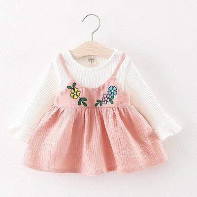 【可愛村】刺繡小花細肩帶蓬蓬上衣套裝 童裝