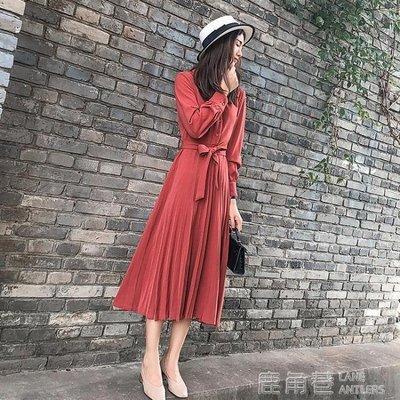 秋裝女2018新款氣質紅色雪紡長裙法式...