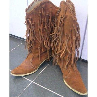 95%新【高跟長靴鞋Boot boot】尖頭 深啡色真皮 2寸跟高 11寸鞋長 15寸靴長 真皮底 (原價 $6,950} Lane Crawford 連卡佛買