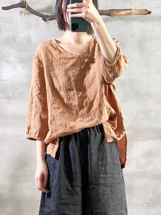 【子芸芳】原創亞麻秋季水洗手工扣復古簡約寬鬆大碼襯衫