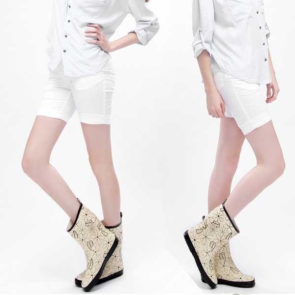 5Cgo【鴿樓】會員有優惠  13060342004 天然環保橡膠女式中筒清雅花葉雨鞋女士雨靴2色 中筒女雨鞋雨靴