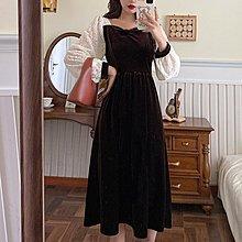 Amybetty新品正韓女裝春秋新款大碼女裝胖妹妹內搭長裙女法式減齡蕾絲拼接金絲絨連身裙