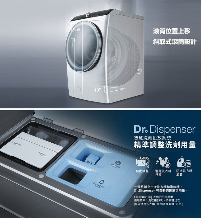 泰昀嚴選 WINIA煒伲雅15公斤PISA變頻滾筒洗脫烘洗衣機 DWC-AD121GS 線上刷卡免手續 全省含運安 A