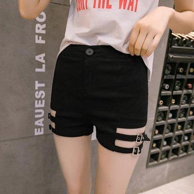 網紅牛仔短褲 女高腰2019新款女裝chic黑色彈力顯瘦韓版時尚熱褲潮