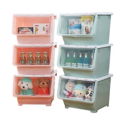 【全場免運】收納箱前開式兒童玩具收納箱筐架塑料斜翻蓋整理箱儲物箱側開零食收納盒