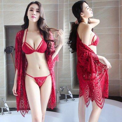 【臺灣發貨】性感蕾絲透明波西米亞風吊帶鏤空睡衣睡裙三點式配外套 7784