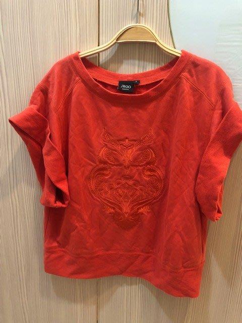 小花別針、專櫃品牌【iroo】橘色簡單短袖上衣