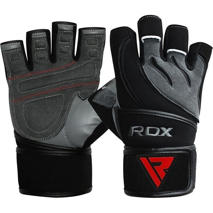 【線上體育】RDX GYM GLOVE LEATHER GRAY/BLACK  L4 RDX001
