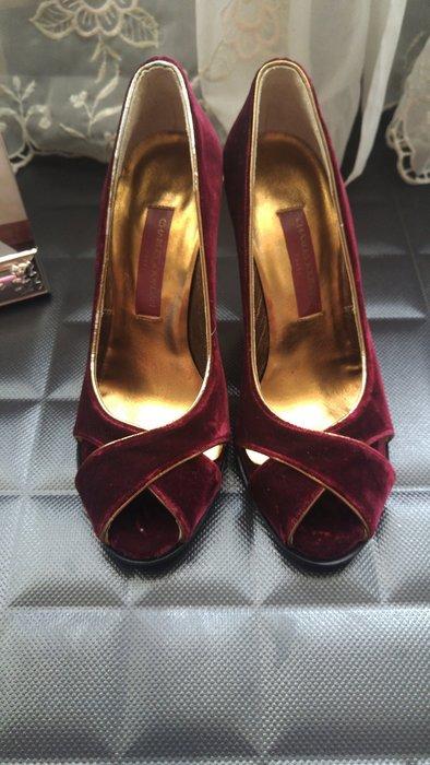 專櫃購買Charles Jourdan紫紅絨新娘鞋魚口高跟鞋 婚鞋