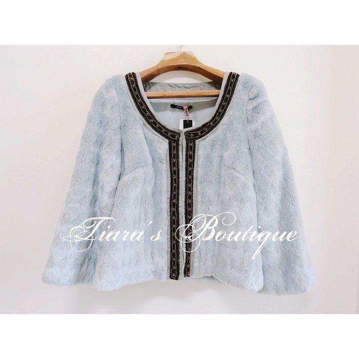 日本品牌one way 華麗菱格皮草外套 低調奢華灰 珠串裝飾 民俗風 (325)