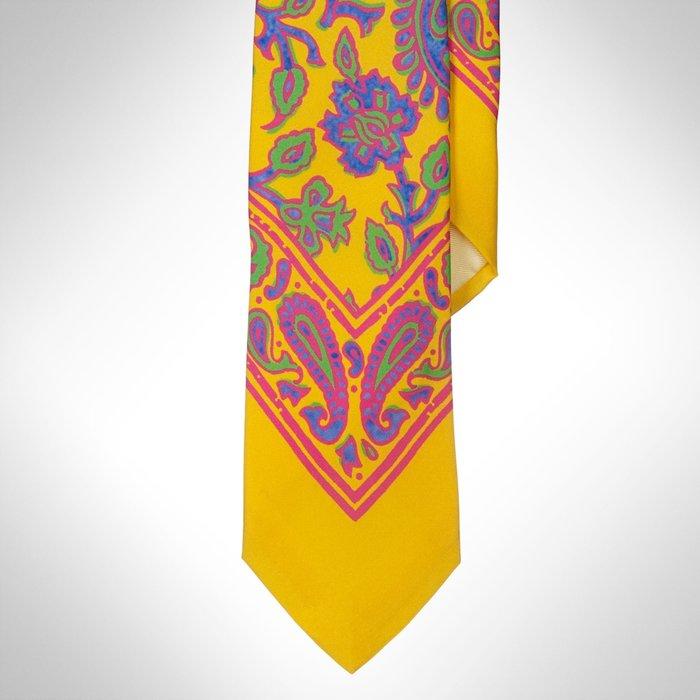 清倉大降價!全新美國 Polo Ralph Lauren 男裝復古造型黃色絲質領帶,義大利製,低價起標無底價!免運費!