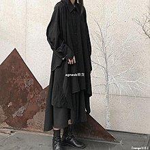 ✿Lu girl 自制暗黑系套裝女二件套寬松設計師款山本耀司赫本風不規則大襯衫JU19