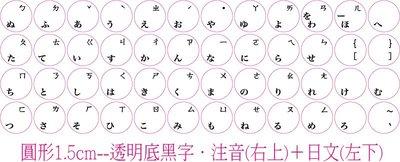 ◎訂製鍵盤貼紙~優質品,不反光筆記型鍵盤.注音(右上)+日文(左下)-尺寸:圓形1.5cm-透明底黑字