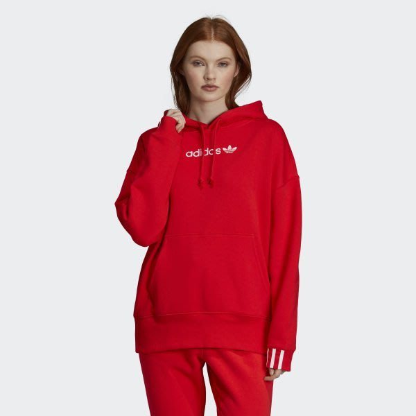 ADIDAS Originals 紅 白英文logo 刷毛 基本款 帽T DU7183【Speedkobe】
