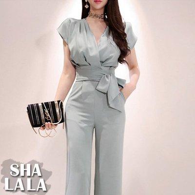 SHA LA LA 莎菈菈 韓版氣質V領繫帶上衣+時尚高腰長褲兩件式套裝(S~XL)2019050517預購款