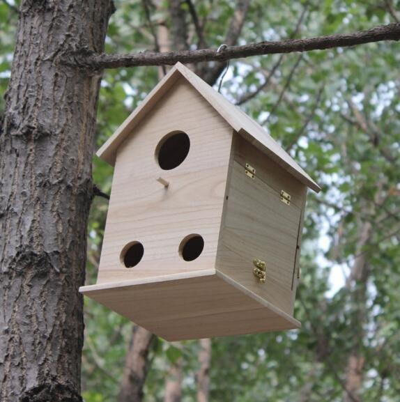 實木鳥蝸鳥籠鳥巢 雙層防潮寵物房鹦鹉屋大小號鳥屋