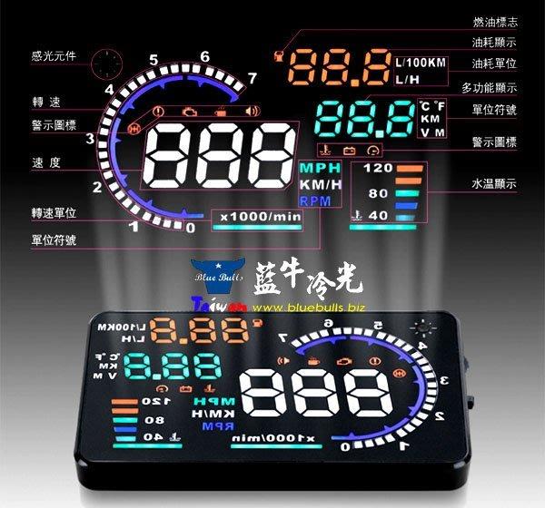 【藍牛冷光】A8 五色款 OBD HUD 抬頭顯示器 時速 轉速 水溫 電壓 油耗 消故障碼 電壓過低水溫過高超速警示