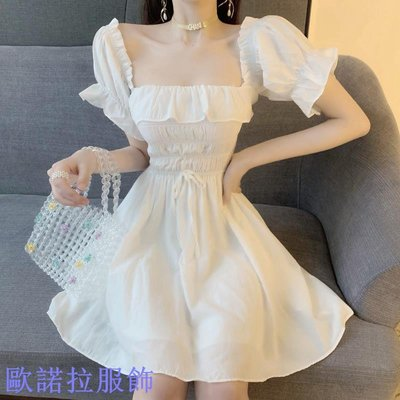 【新款】復古方領露背褶皺兩穿連衣裙女收腰顯瘦氣質裙子夏季短裙