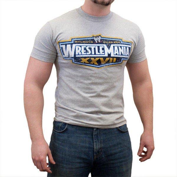 ☆阿Su倉庫☆WWE摔角 WrestleMania XXVII Grey T-Shirt WM27經典灰 S號出清特價中