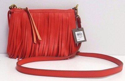 【現貨在台】FOSSIL SHB1437616 橘紅色 真皮側背 流蘇小包