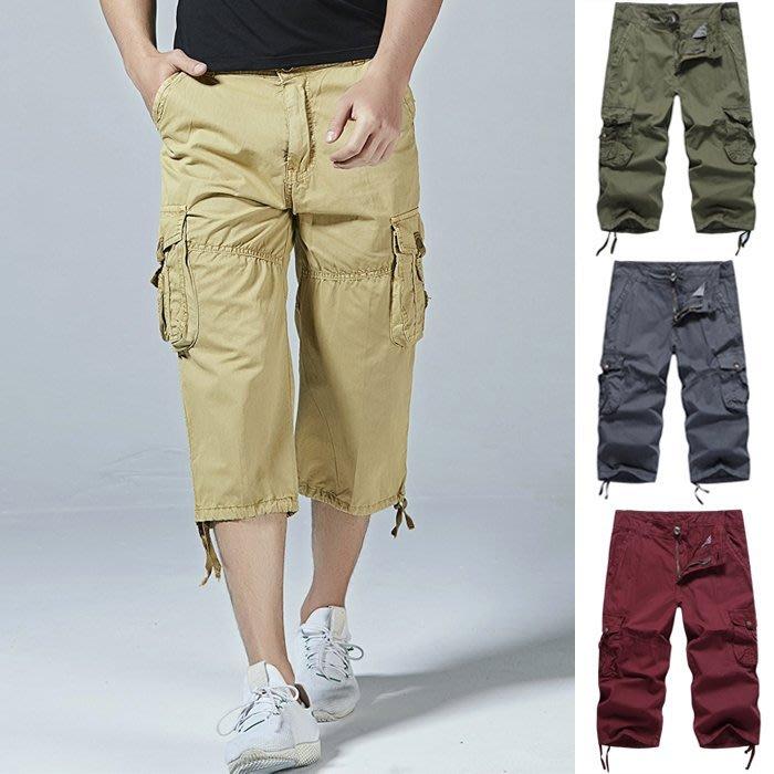 『潮范』 S5 寬鬆休閒短褲 工裝短褲 大碼短褲 八分褲 多口袋褲 直筒褲 七分褲NRG953