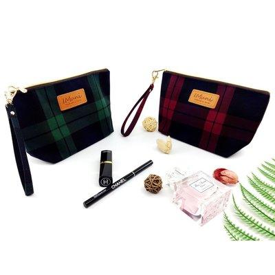 I Muni品牌 蘇格蘭格紋風 韓國帆布 中款手拿化妝包化妝袋收納包收納袋(內裡防水)